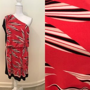 NY & Co one shoulder graphic print dress